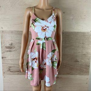 Monteau Blush Pink Floral Mini Dress